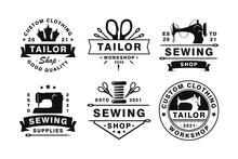 Set Of Vintage Tailor Badges, Emblems And Logo