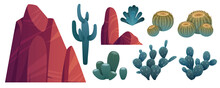 Mountain Rocks And Cacti, Stones With Green Desert Piked Plants. Natural Elements, Wild West Nature Flora For Pc Game Formation Isolated On White Background. Cartoon Vector Illustration, Icons Set