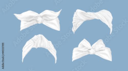 Fotografia White headbands, woman hair bandana with tied bow