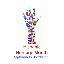 Different Flags Of America On Silhouette People Hand.  Cultural And Ethnic Diversity. National Hispanic Heritage Month.