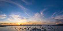 Time Lapse Of Majestic Sunrise Landscape Amazing Light Of Nature Cloudscape Sky Above Mountain Range. .colorful Sky Sunrise Clouds. Boats Yacht In Chalong Marina Gulf Background..
