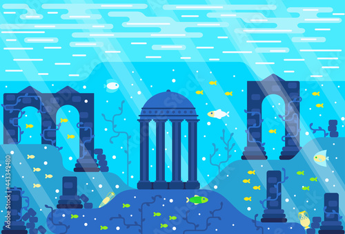 Ruins of an ancient city underwater, colonnades, stone pillars, greek amphora, fishes on the seabed Fototapet