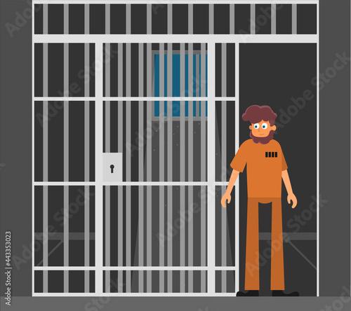 Fotografering Prisoner, flat vector illustration of prison cell