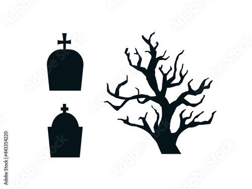 Fototapeta Black contour silhouettes of gravestones and gloomy tree set