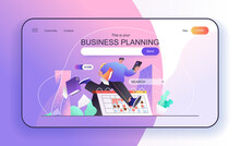 This Is Your Business Planning Concept For Landing Page. Employee Doing Work Tasks, To Do List, Meetings Calendar In Office Web Banner Template. Vector Illustration In Flat Cartoon Design For Web Page