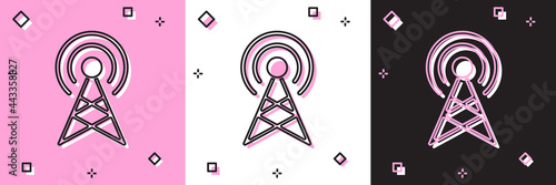 Billede på lærred Set Antenna icon isolated on pink and white, black background