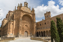 Detailed View At The San Esteban Convent Front Facade, Gothic Plateresque Style, Salamanca Downtown