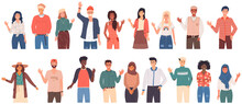 People Greeting Gesture. Different Nations Representatives Waving Hand Saying Hi. Men, Women Say Hello. People Waving Hands And Gesturing In Friendly Way. Characters Wave Their Hand And Say Welcome Hi