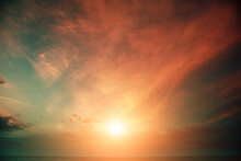 Colorful Cloudy Sky Over The Sea At Sunset. Sky Texture, Abstract Nature Background