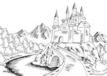 Castle Road Graphic Black White Landscape Sketch Illustration Vector