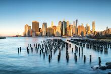 Pier 1 In Brooklyn Bridge Park With Lower Manhattan Skyline, New York City, USA