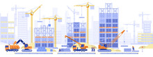 Construction Site Concept. Builders Working On Multi-storey Buildings, Installing Pipes For Pipeline, Loading Cranes, Architects Looking At Project Plan. Vector Illustration Scene With Tiny Characters