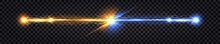 Electric Discharge Collision, Blue Vs Yellow Lightning Thunder Bolt. Glowing Electric Shock Effect, Light Flash. Power Battle With Impulse Line Wire. Vector Illustration