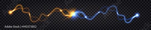 Fotografiet Electric discharge collision, blue vs yellow lightning thunder bolt