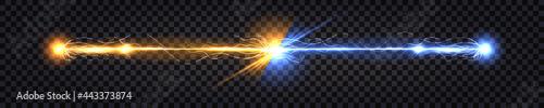 Fotografia Electric discharge collision, blue vs yellow lightning thunder bolt