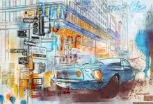 Urban Car On The Background Of The City. Megapolis Landscape. Big City Background. Urban Style. Street Style. Design For Wallpaper, Wall Mural, Card, Postcard, Photo Wallpaper.