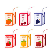 A Set Of Different Juices In A Cardboard Box With A Straw. Fruit And Berry Juices. Baby Food, Fresh Summer Drink. Flat, Cartoon Style. Color Vector Illustration Isolated On A White Background.