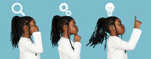 Workings Of The Human Mind. African Girl's Portrait Isolated On Blue Studio Background With Drawings. Side View