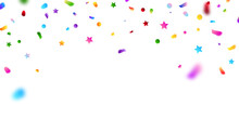 Celebration Background Template With Confetti And Colorful Ribbons.