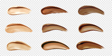 Cosmetic Foundation Swatches, Smears Of Liquid Concealer For Makeup Isolated On Transparent Background. Vector Realistic Set Of Light And Dark Bb Cream Smudges, Beige And Brown Cosmetic Strokes