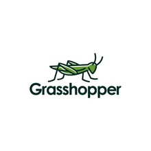 Grasshopper Mantis Logo, Cricket Insect Icon In Trendy Minimal Geometric Line Linear Style, Green Insect Logo