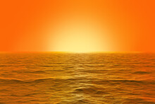 Cgi Orange Sunrise Over The Ocean With Clear Sky And Orange Ambient Mood