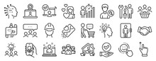 Set Of People Icons, Such As Best Manager, Foreman, Buyers Icons. Meeting, Online Access, Delivery App Signs. Elevator, Business Statistics, Love. Repairman, Journey Path, Teamwork. Idea. Vector