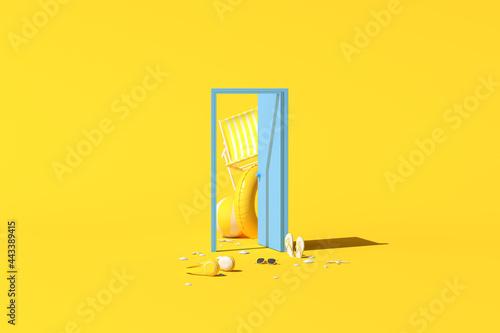 Minimal conceptual scene of summer stuff in a blue door on yellow background Fototapet