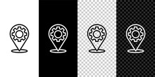 Set Line Car Service Icon Isolated On Black And White Background. Auto Mechanic Service. Repair Service Auto Mechanic. Maintenance Sign. Vector