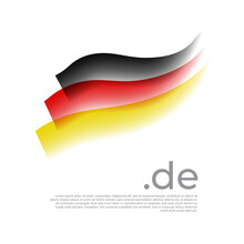 German Watercolor Flag. Stripes In Colors Of Flag Of Germany On A White Background. Vector National Poster Design With De Domain And Place For Text. Tricolor. State German Patriotic Banner, Cover