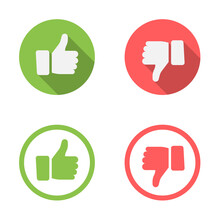 Thumb Up And Thumb Down Flat Icons. Vector Illustration