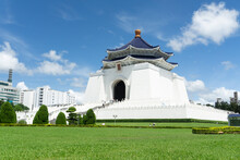Chiang Kai Shek Memorial Hall In Taipei, Taiwan. The Beautiful White Building Has An Octogonal Blue Roof Because Number 8 Is Considered Lucky In Chinese Culture.