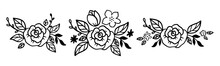 Doodle Flower Diadem Set With Rose And Leaves. Floral Crown Collection In Line Art Style. Bouquet For Headband For Women Accessory. Vector Illustration Isolated On White Background. Floral Wreath
