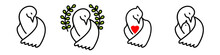 Vector Set Of Pigeon Of The World, Pigeon With A Red Heart, A Bird With A Chick. Group Of Different Concepts Isolated On White Background. Symbols Of Peace, Mercy, Mutual Assistance, Love, Motherhood