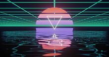 Image Of White Triangle Over Glowing Red To Purple Circle Over Green Grid Reflected In Water