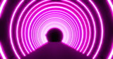 Moving through a tunnel of concetric bright pink neon arcs pulsating on a black background