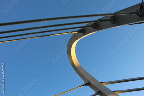 Canvas Print Close-up of a fragment of the cable-stayed bridge pylon in the place where the cables are fastened