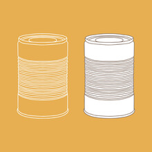 Metal Can Mockup. Vector Illustration Of Package For Food. Line Design Icon.