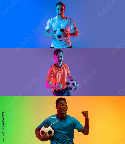 Fototapeta premium The professional football soccer player and human emotions concept. The win, winner, victory concepts. Forward.