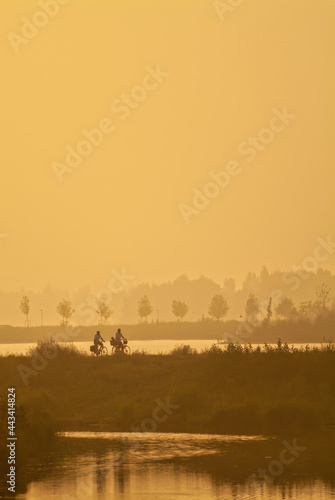 Fotografie, Obraz Sunset view of a Dutch polder with silhouettes of cyclists