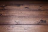 Fototapeta Kawa jest smaczna - Dark wooden table top background texture.   Wood tabletop closeup as plank board surface