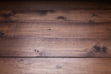 Dark Wooden Table Top Background Texture.   Wood Tabletop Closeup As Plank Board Surface