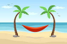 Hammock Between Palm Trees On Beach. Flat Design. Tropical Seascape.