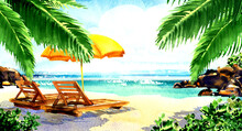 Beautiful Paradise Tropical Island With Sandy Beach, Palms, Sea, Ocean, Chairs, Deckchairs, Umbrella. Holiday Relax Travel Vacation Resort Concept, Watercolor Illustration. Idyllic Background