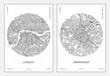 Travel poster, urban street plan city map London and Birmingham, vector illustration