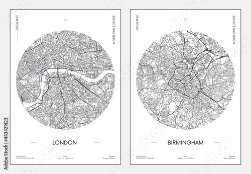 Travel poster, urban street plan city map London and Birmingham, vector illustra Fototapete