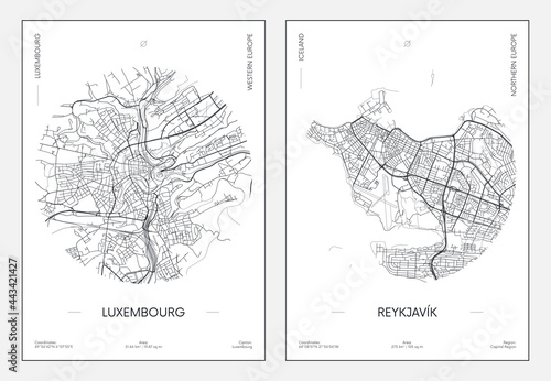 Leinwand Poster Travel poster, urban street plan city map Luxembourg and Reykjavik, vector illus
