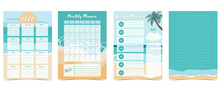 2022 Table Calendar Week Start On Sunday With Beach And Sea That Use For Vertical Digital And Printable A4 A5 Size