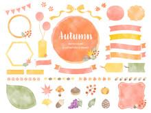 秋色の水彩風イラストとフレームのセット / 秋, 水彩, 紅葉, 植物, 自然, フレーム, イラスト