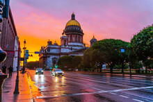 Amazing View Of St. Isaac's Cathedral During A Bright Sunset After Rain, Tourist St. Petersburg In Summer.